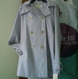 NWT MK Pale Orchid Trench Coat Hood Gold  L
